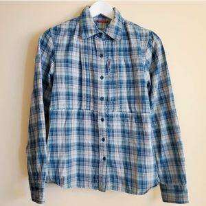 The North Face Button-Up Blue/Green Plaid Shirt